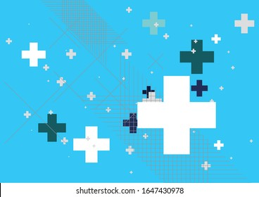 Abstract blue background created with plus sign. Vector illustration.