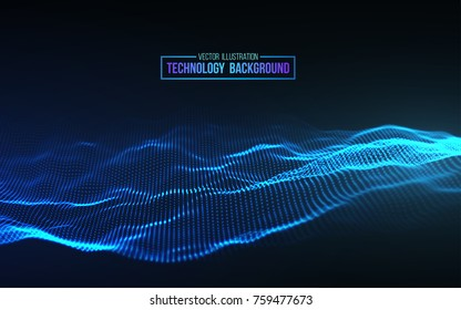 Abstract blue background. Futuristic  vector illustration. Technology background. Big data. Wave 3d abstract.