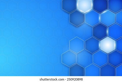 Abstract blue background hexagon. Vector. Clip-art