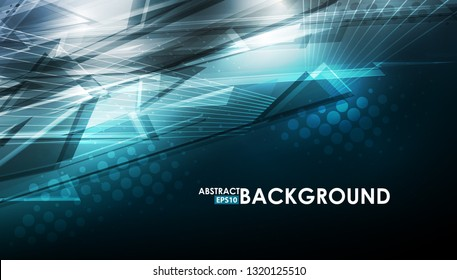Abstract blue background with lighting effect. Futuristic design layout for presentations, posters, flyer. Vector