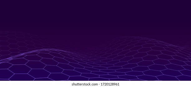 Abstract blue background of moving particles. Futuristic mesh. A large amount of data. Vector illustration