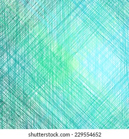 Abstract blue background with pencil drawing. Vector illustration