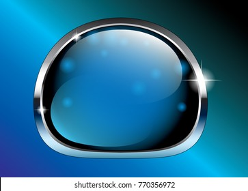 Abstract blue background with a silver frame, with space for your text. Winter themed vector illustration.