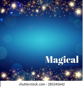 Abstract blue background with stars & lights. Vector illustration