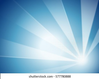 Abstract blue background, blue stripe with halftone elements in cartoon style