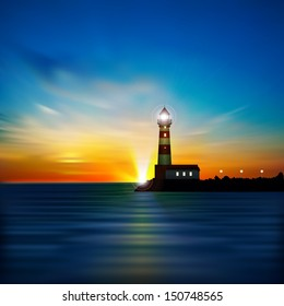 abstract blue background with sunrise and lighthouse