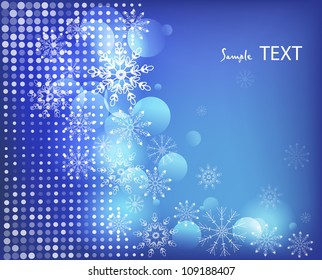 abstract blue background with white snowflakes