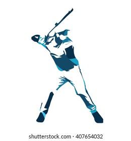 Abstract blue baseball player, vector isolated illustration. Baseball batter
