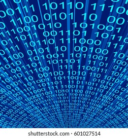 Abstract blue binary code. Vector line 3d background of information technologies