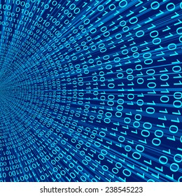 Abstract blue binary figure code 3D vector line background of information technologies