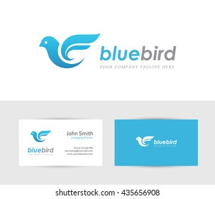 Abstract blue bird icon with business card design template. Can be used for travel or delivery logo concept
