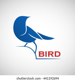 Abstract blue bird logo template. Vector illustration of sparrow as a symbol of creativity, joy, friendliness and community for your design