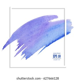 Abstract Blue Blurred Background. Watercolor Texture. Vector Illustration. Eps 10.