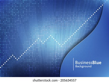 Abstract blue business background with dotted trendline graph. Text and background on separate layers. Easy to customize color. Fully scalable vector illustration.