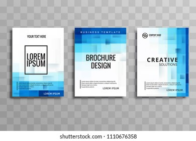 Abstract blue business brochure template set