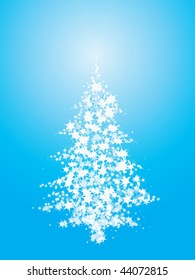 Abstract blue christmas tree made of stars and stardust