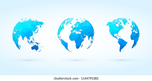 abstract blue circle globes vector set world planet earth