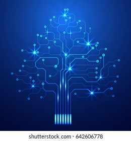 Abstract Blue Circuit Board With Tree Idea Concept Vector Background