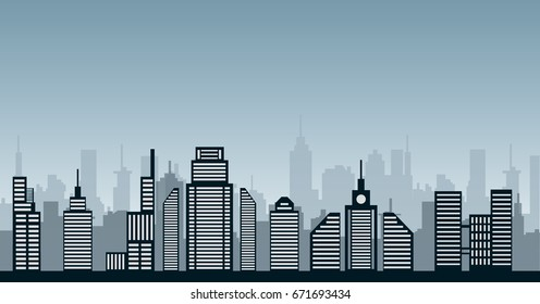 Abstract blue cityscape illustration urban city and sky
