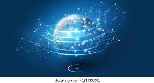 Abstract Blue Cloud Computing, Networks, Telecommunications Concept Design with Polygonal Mesh, Glowing Clusters of Nodes Around Earth - Vector Illustration