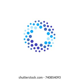 Abstract blue color round logo from circles. Water vector logotype template. Innovative cleaning and freezing method. Sparkling drink icon.