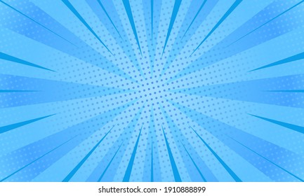 Abstract blue comic zoom background vector illustration