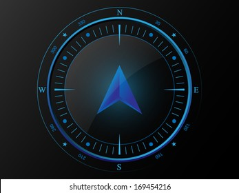 Abstract blue compass with 3 D arrow pointer in the middle, isolated on dark background