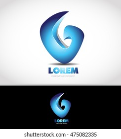 Abstract blue corporate business logo design 3d icon vector company element template