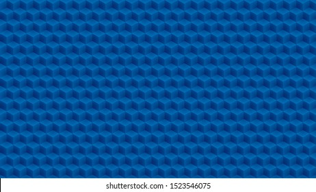 Abstract blue cubes pattern. Vector isometric pattern with copy space for business presentation or web design. Wide screen 4K HD 16x9