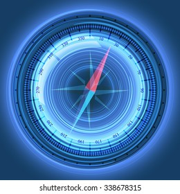 Abstract blue design concept of digital compass.