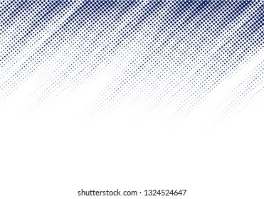Abstract blue diagonal halftone texture on white background with copy space. Dots pattern. Vector illustration