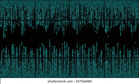 Abstract with blue digital lines, binary code, matrix background with digits. High-tech computer background, frame