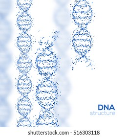 Abstract Blue DNA Helix with Small Particles Isolated on White Background. Vector Illustration. Science and Medical Research Concept Banner. Molecular Structure, Broken Strands