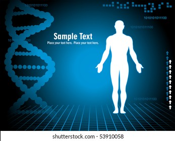abstract blue dna spiral background with people silhouette