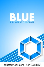 Abstract blue document template with lines and hexagonal symbol