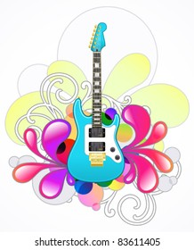 Abstract with blue electric guitar and design elements