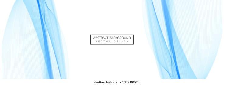 Abstract blue elegant wave header design