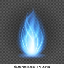 Abstract blue fire flame light on black background vector illustration. Burning flames translucent elements special Effect.