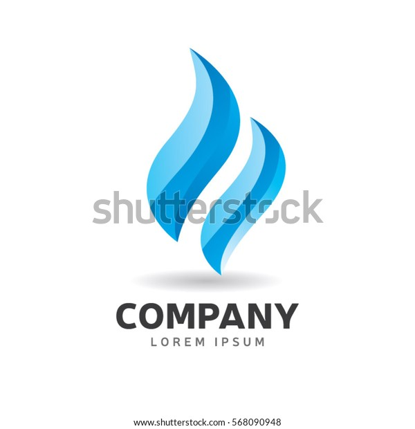 Abstract Blue Fire Flame Logo Sign Symbol Icon
