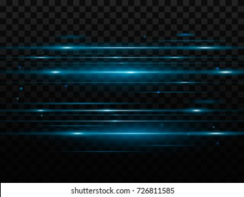 Abstract blue flash and laser beams. Isolated on a transparent black background. Vector illustration