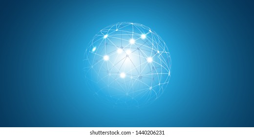 Abstract Blue Futuristic Modern Style Cloud Computing, Networks Structure, Telecommunications Concept Design, Network Connections with Wireframe Sphere - Vector Illustration
