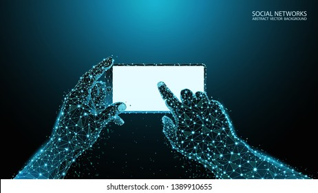 Abstract blue geometric background. Augmented and virtual reality. Polygonal men's hands with a smartphone. Innovative technologies for gadgets. Skeleton image of a human hand. White glowing display.