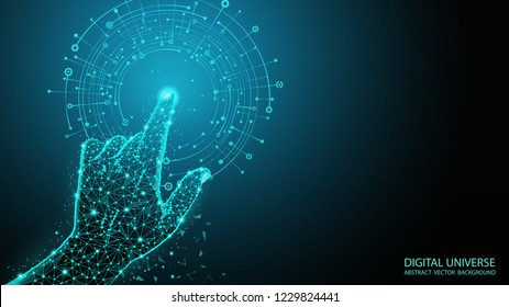 Abstract blue geometric background. Touch to electronic display. Skeleton image of a human hand. Technologies of the future. Futuristic image. Polygonal mesh. Futuristic pattern. Virtual reality.