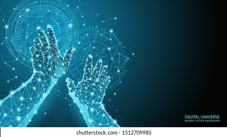 Abstract blue geometric background. Touch to electronic display. Skeleton image of a human hand. Technologies and Internet. Future vector image. Polygonal mesh. Futuristic pattern. Virtual reality.