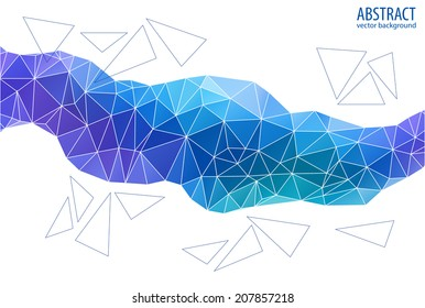 Abstract blue geometric background. Triangular vector illustration