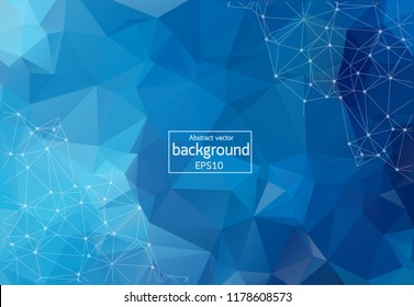 Abstract Blue Geometric Polygonal background molecule and communication. Connected lines with dots. Concept of the science, chemistry, biology, medicine, technology.