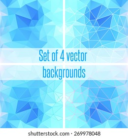 Abstract blue geometric triangular background design.