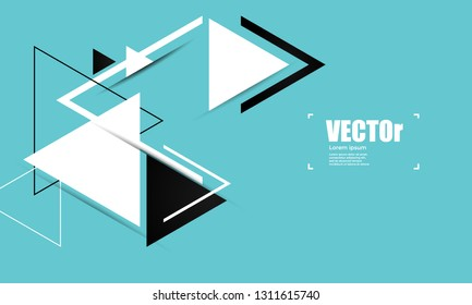 Abstract blue geometric vector background with triangles.