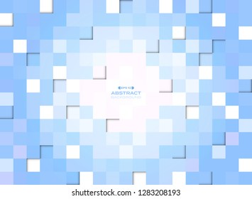Abstract of blue gradient pixel square pattern background, vector eps10