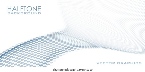 Abstract blue gray dotted background with halftone effect, Minimal vector graphics